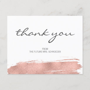 5f06889609b0 Rose Gold Brushstroke Bridal Shower Thank You Card