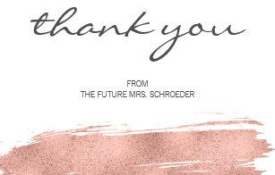rose gold brushstroke bridal shower thank you card