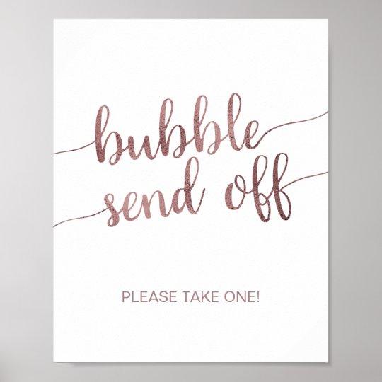 rose gold bubble send off poster zazzle com