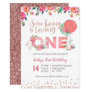 Rose Gold Bunny 1st Birthday Floral Invitation