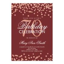 Rose Gold Burgundy 70th Birthday Glitter Confetti Card
