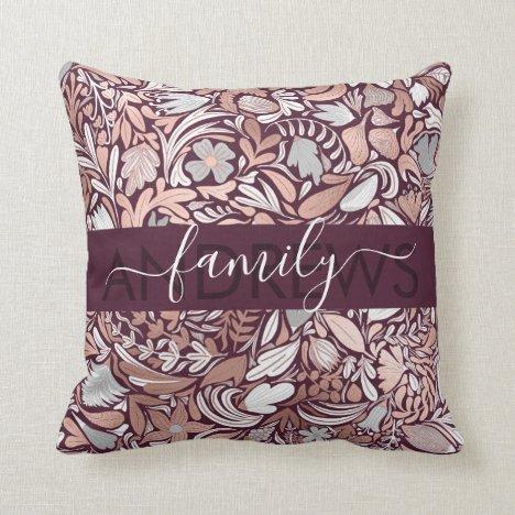 Rose Gold Burgundy Floral Illustration Family Throw Pillow