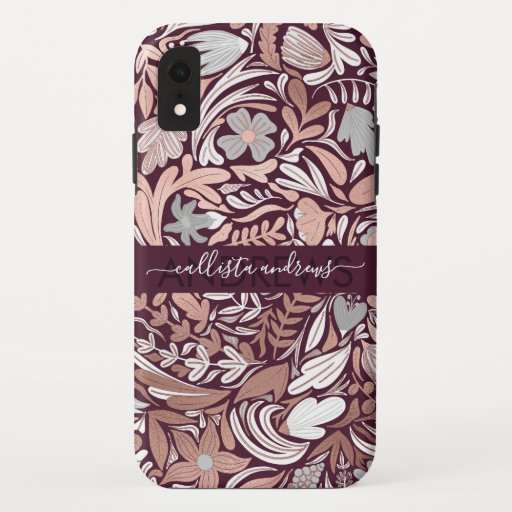 Rose Gold Burgundy Floral Illustration Monogram iPhone XR Case