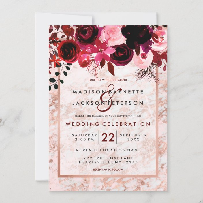 Custom bespoke personalised day /& evening stationery. Burgundy floral marsala invites peonies roses with gold Flower design invite