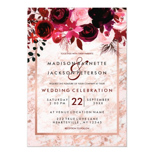Rose Gold Burgundy Floral Wedding Invitations Zazzle Com