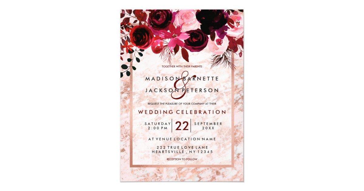 Rose Gold Amp Burgundy Floral Wedding Invitations Zazzle Com