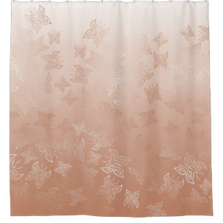 Rose Gold Butterflies Pattern Classic Shower Curtain
