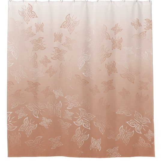 Rose Gold Butterflies Pattern Classic Shower Curtain