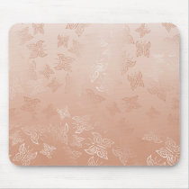 Rose Gold Butterflies Pattern Mouse Pad