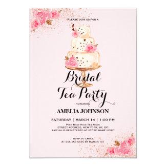 Rose Gold Cake Tea Party Bridal Shower Invitation