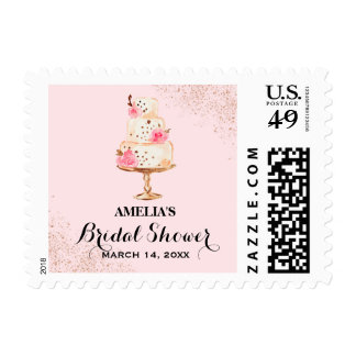 Rose Gold Cake Tea Party Bridal Shower Stamps
