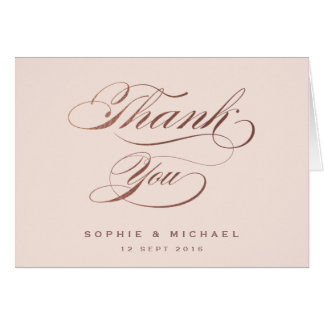 Rose gold calligraphy wedding thank you notecard