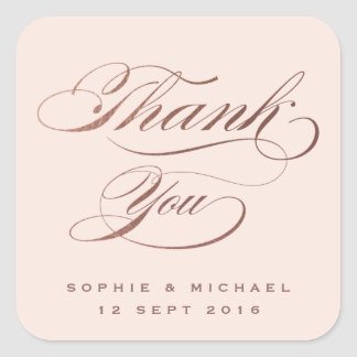 Rose gold calligraphy wedding thank you sticker