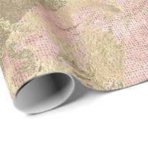 Rose Gold Champaigne Marble Linen Metallic Strokes Wrapping Paper