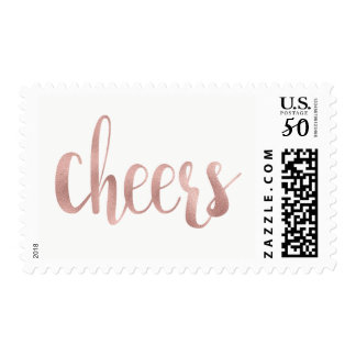 Rose gold cheers stamps, foil, medium postage
