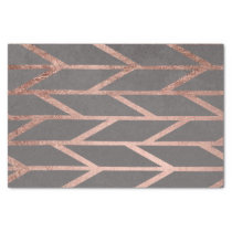 Rose gold chevron stripes geometric grey cement tissue paper