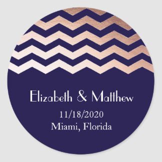 Rose Gold Chevron Wedding Personalized Classic Round Sticker