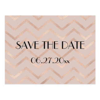 Rose Gold Chevron Wedding Save The Date Postcard