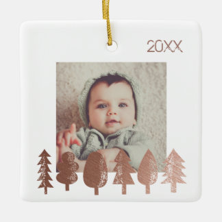 Rose Gold Christmas Tree Photo Year Ceramic Ornament