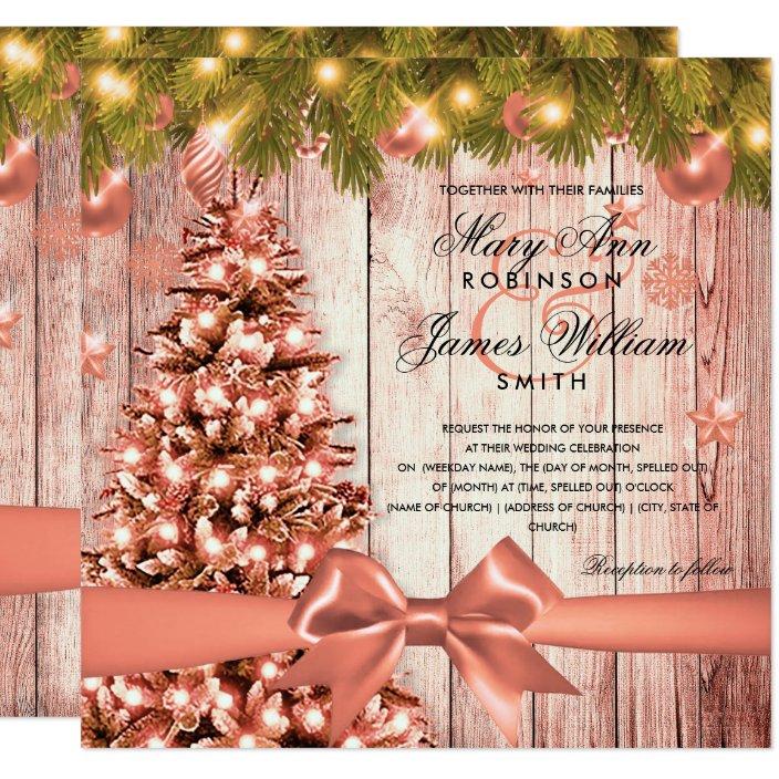 Rose Gold Christmas Wedding Tree Lights Ribbon Invitation Zazzle Com