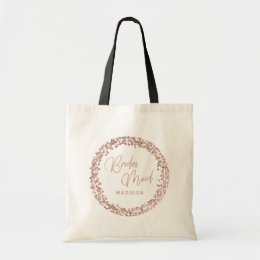 Rose Gold Circle Frame Wedding Bridesmaid Tote Bag