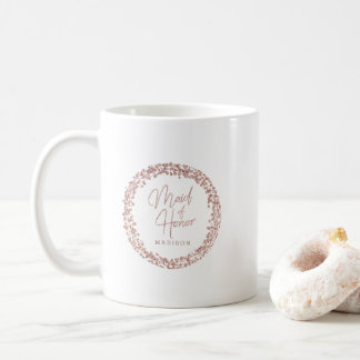 Rose Gold Circle Frame Wedding Maid of Honor Coffee Mug