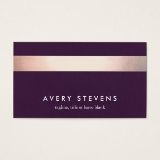 Rose Gold Colored Striped Modern Purple Chic 2 Business Card