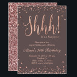 "Rose Gold Confetti Birthday Party Invitation<br><div class=""desc"">Rose Gold Confetti Birthday Party Invitation,  perfect for surprise birthday party. Very glamorous,  elegant,  and modern with beautiful glitter.</div>"