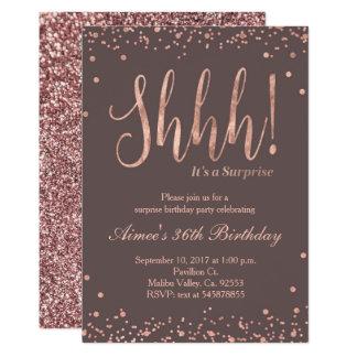 Rose Gold Confetti Birthday Party Invitation