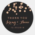 Rose Gold Confetti Black Thank you  sticker