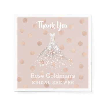 Wedding Themed Rose Gold Confetti Bridal Shower Wedding Dress Paper Napkin