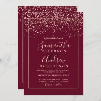 Rose gold confetti burgundy all in one wedding invitation