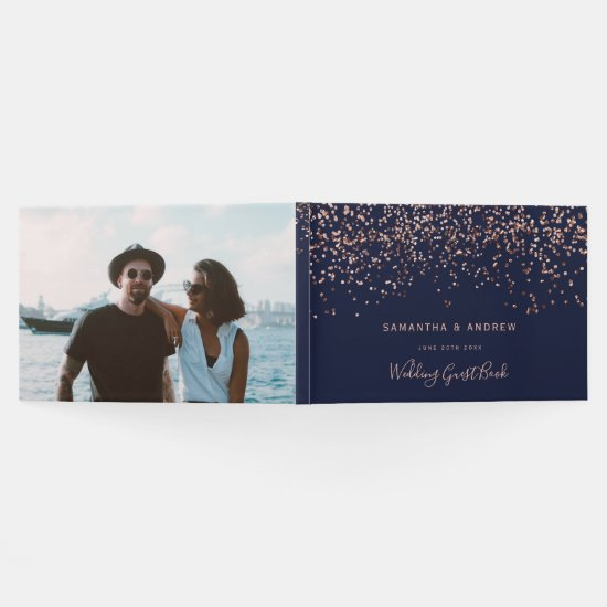 Rose gold confetti navy blue photo wedding guest book