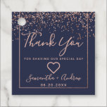 "Rose gold confetti navy blue thank you wedding favor tags<br><div class=""desc"">Rose gold confetti navy blue typography thank you wedding</div>"