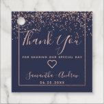 "Rose gold confetti navy blue thank you wedding favor tags<br><div class=""desc"">Rose gold confetti navy blue typography thank you wedding</div>"