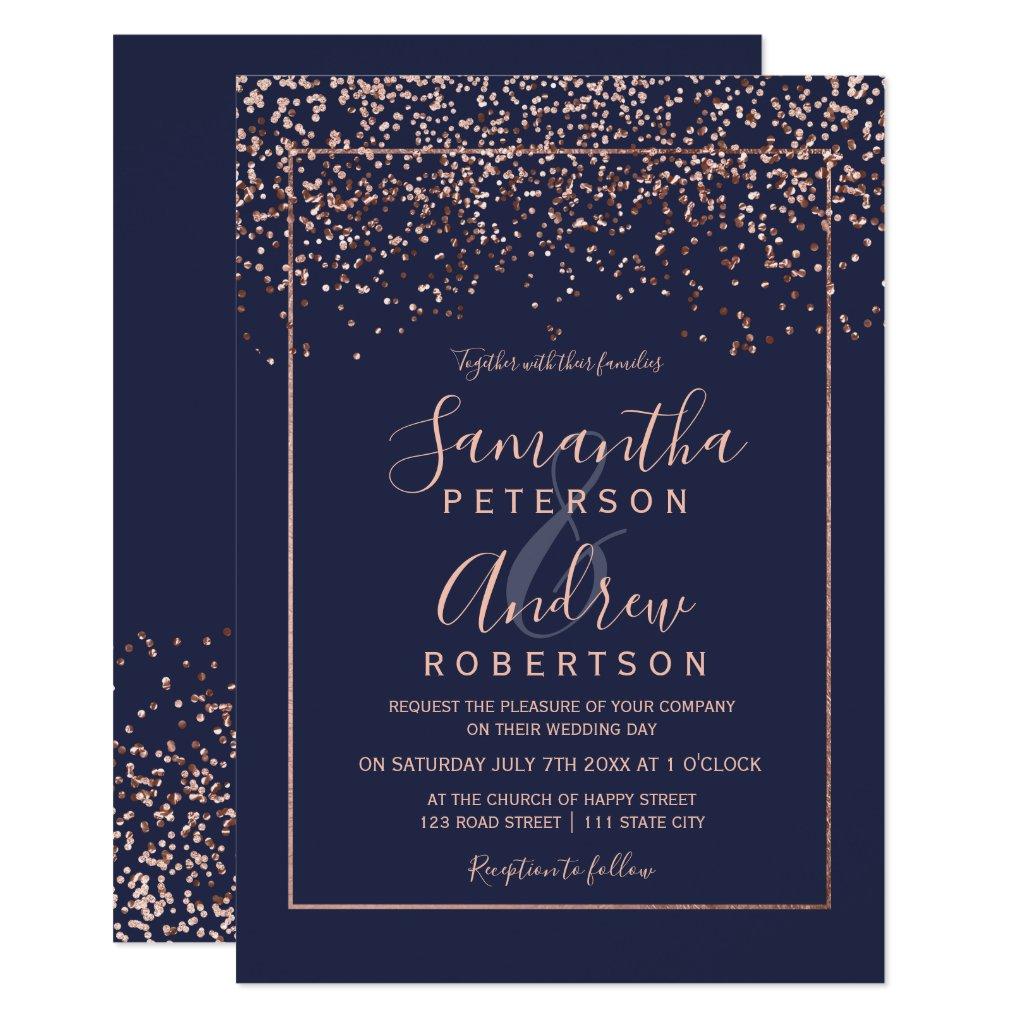 Rose gold confetti navy blue typography wedding invitation