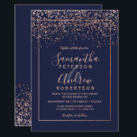 "Rose gold confetti navy blue typography wedding invitation<br><div class=""desc"">Rose gold confetti navy blue typography wedding</div>"