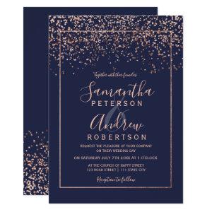 Rose gold navy blue wedding Invitations typography confetti