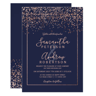 Rose gold confetti navy blue typography wedding invitation