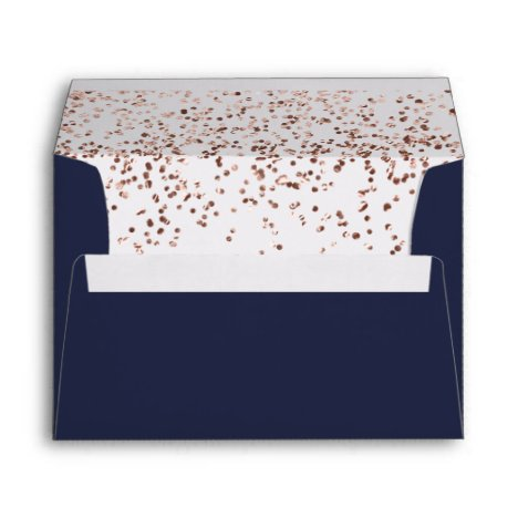 Rose gold confetti navy blue wedding address envelope