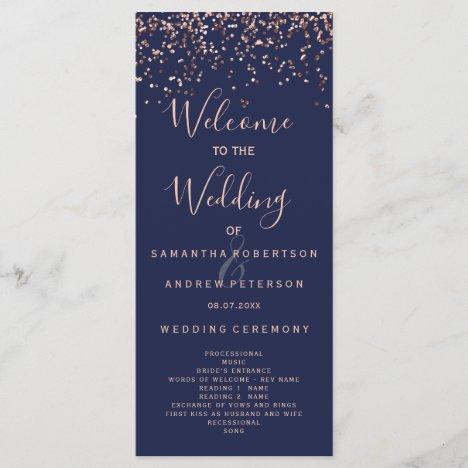 Rose gold confetti navy blue wedding program
