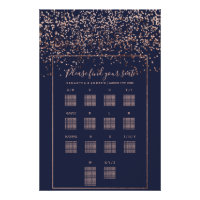 Rose gold confetti navy blue wedding seating chart