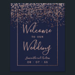 "Rose gold confetti navy blue wedding welcome poster<br><div class=""desc"">Rose gold confetti navy blue wedding welcome</div>"