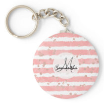 Rose gold confetti pink watercolor stripes pattern keychain