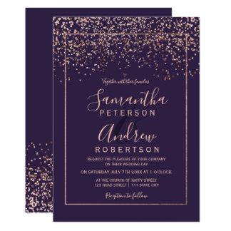 Rose gold confetti purple typography wedding invitation