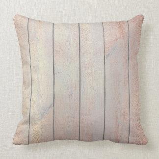 Rose Gold Copper Blush Glam Metallic Wood Cottage Throw Pillow