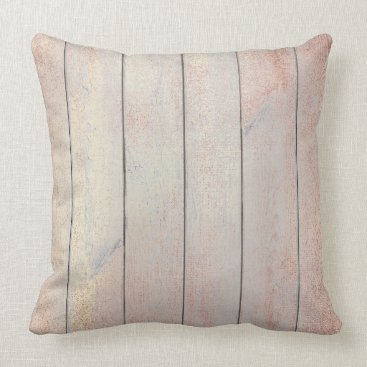 Beach Themed Rose Gold Copper Blush Glam Metallic Wood Cottage Throw Pillow