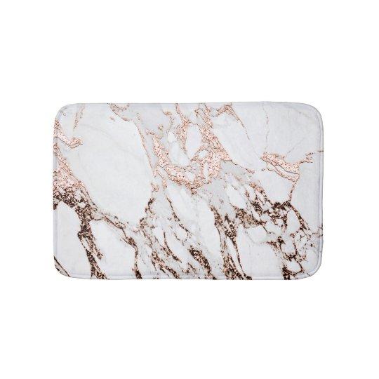 Rose Gold Copper Glitter Metallic Black Marble Bathroom