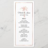 Rose Gold Copper Palm Tree White Marble Wedding Menu