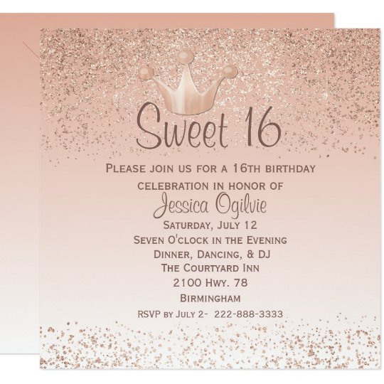 rose gold crown sweet 16 birthday invitation zazzle com
